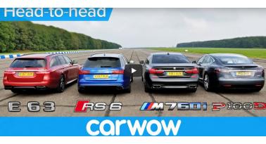 Ακόμα και με άσχημη εκκίνηση, το Tesla Model S κέρδισε τα  RS6, E63 S και M760LI!