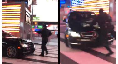 Οδηγός Mercedes πετάει κάτω αστυνομικό στην Times Square και εξαφανίζεται!