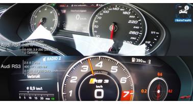 Audi RS7 vs RS3 - Ήχος και Τελική Ταχύτητα