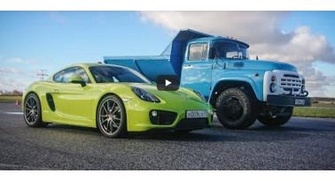 Δείτε ένα παλιό Ρωσικό φορτηγό να κερδίζει μια Porsche Cayman!