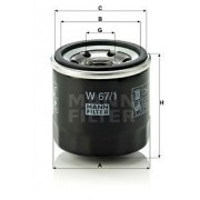 ΦΙΛΤΡΟ ΛΑΔΙΟΥ ΚΙΝΗΤΗΡΑ OIL FILTER auto W-67/1 MANN-FILTER