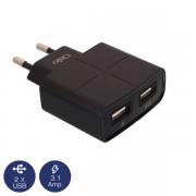 ΔΙΠΛΟΣ ΦΟΡΤΙΣΤΗΣ ΡΕΥΜΑΤΟΣ ΜΑΥΡΟΣ ΜΕ 2 USB 5V 1A / 2.1A OTU-285B OSIO