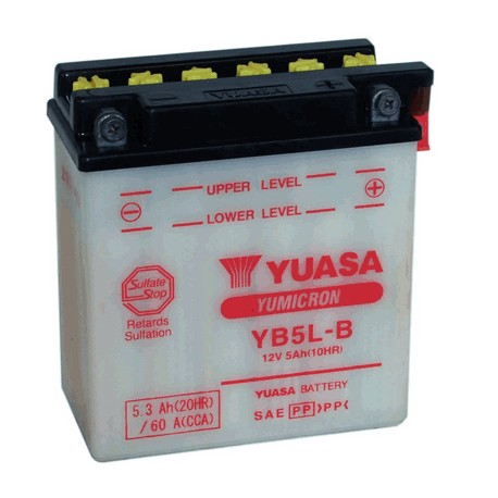 YB5L-B 12V 5AH [- +] ΙΝΔ. CP ΜΕ ΥΓΡΑ [120-60-130] ΜΠΑΤΑΡΙΑ ΜΟΤΟ (YUASA)