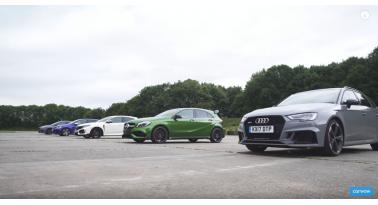 Χαμός! RS 3 εναντίον A45 AMG εναντίον Civic Type R εναντίον Golf R εναντίον Focus RS!