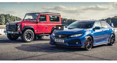 Honda Civic Type R Εναντίον Land Rover Defender Works V8! Περίεργος αγώνας με αποτέλεσμα έκπληξη